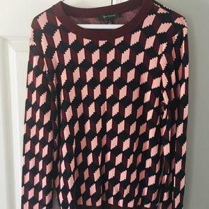 Ann Taylor Pink Houndstooth Sweater Size Medium